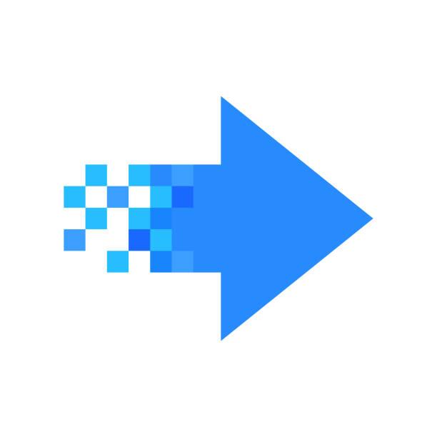 Pixel-right arrow Pixel-right arrow, icon the way forward stock illustrations