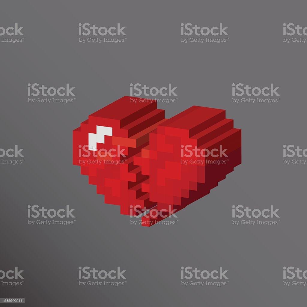 Pixels Art Cœur Brisé Amour Concept De Design Vecteurs