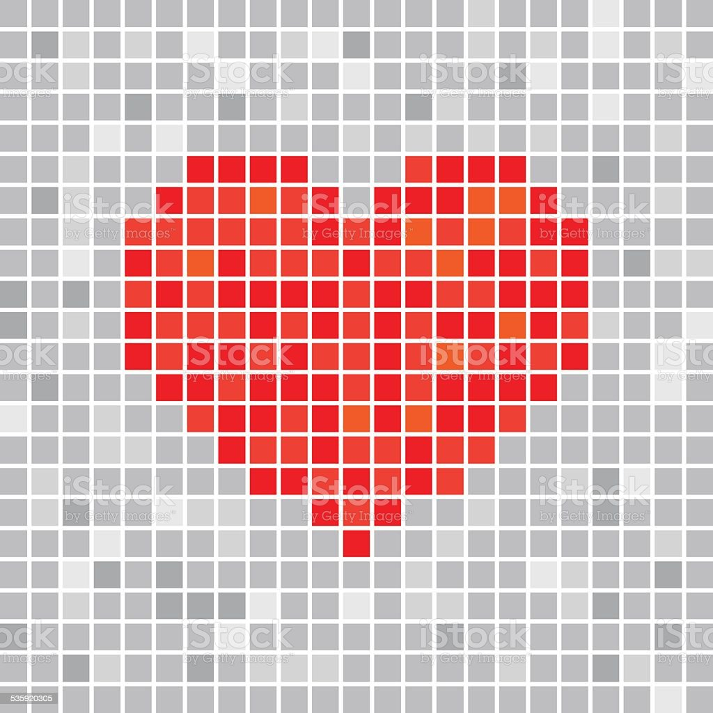 Pixels Art Tile Heart Designs Love Concept Stock Vector Art