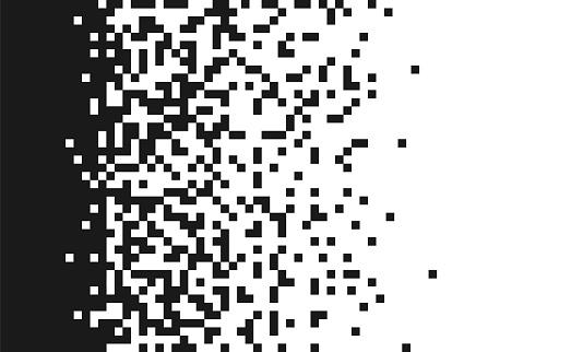 Pixels scattered, dissolve.