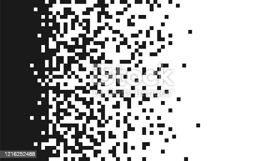 The pixels are scattered, dissolve. Pixel gradient Speed seamless pattern. Black and white abstract vector background. Vector monochrome style. Abstract random squares, background.