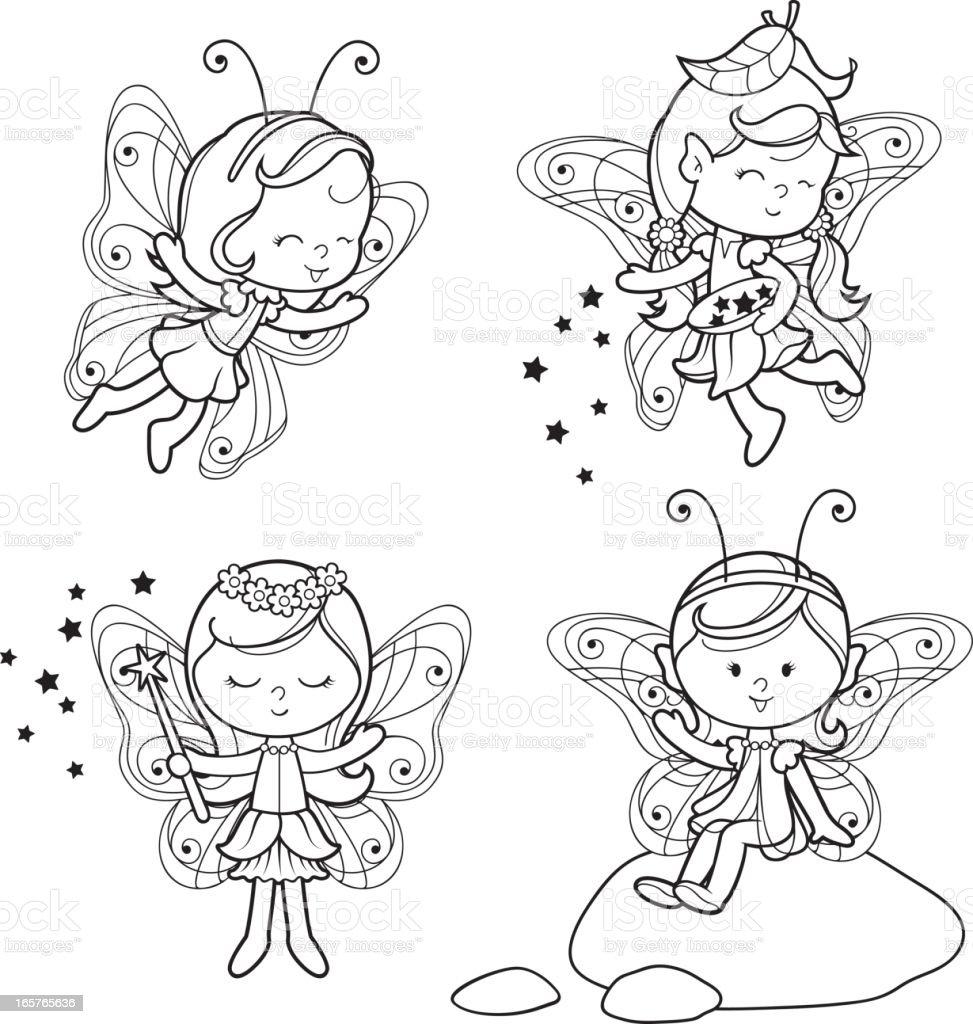 Pixie elf coloring set vector art illustration