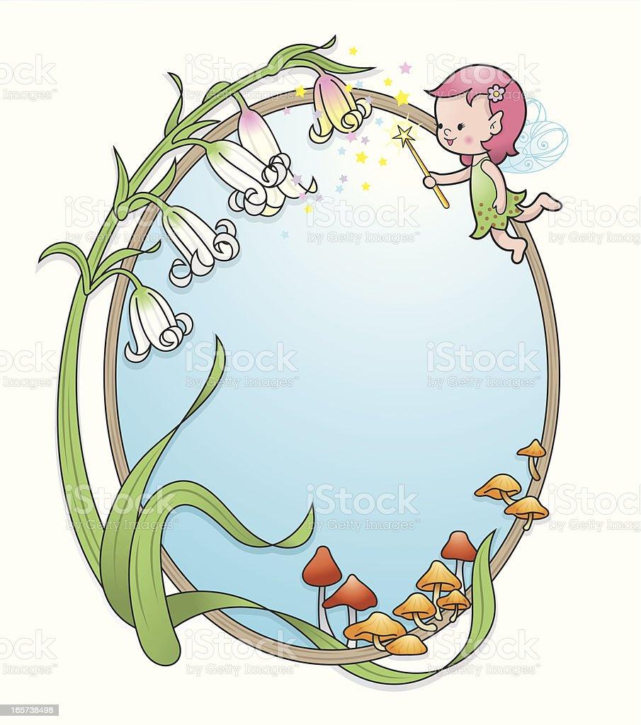 Pixie elf girl flower frame royalty-free stock vector art