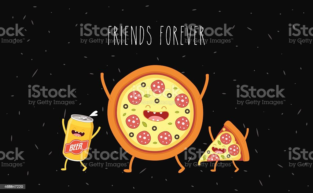 Pizza and beer vector art illustration