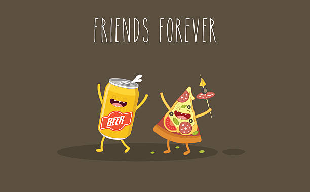 stockillustraties, clipart, cartoons en iconen met pizza and beer - bargerecht