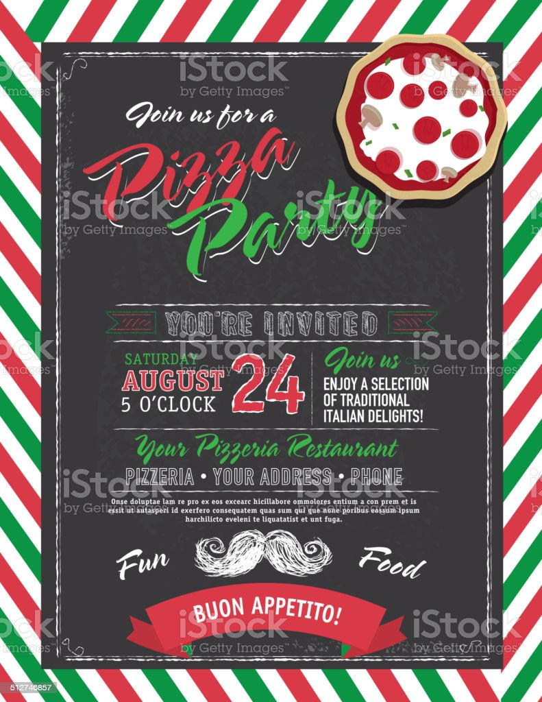 Pizza And Birthday Party Invitation Design Template Black – Pizza Party Invitation Template
