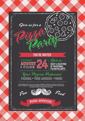 Pizza and birthday party invitation design template black white pizza