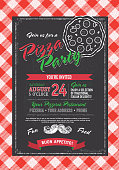 Pizza and birthday party invitation design template