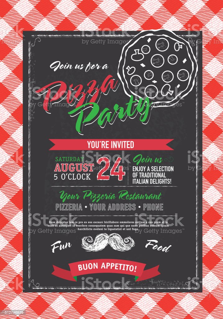 Pizza and birthday party invitation design template black white pizza vector art illustration