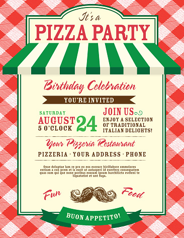 Pizza and birthday party invitation design template large red check