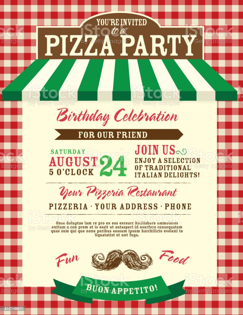 Pizza And Birthday Party Invitation Design Template Small Red Check ...