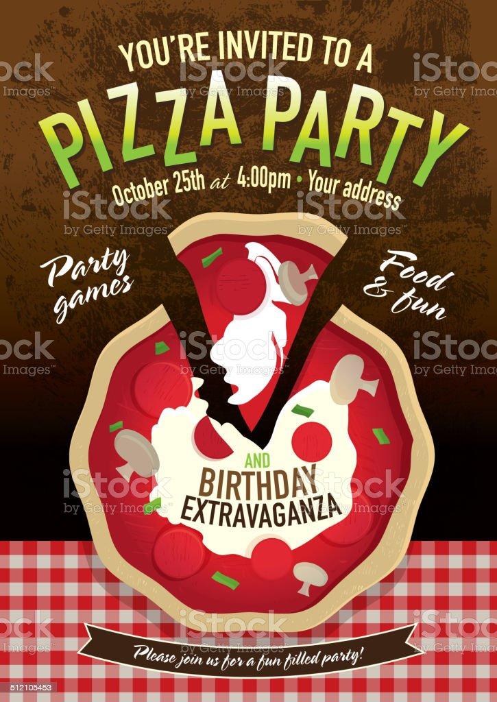 Pizza I Urodziny Party Zaproszenie Projekt Szablon Tekstura Tło