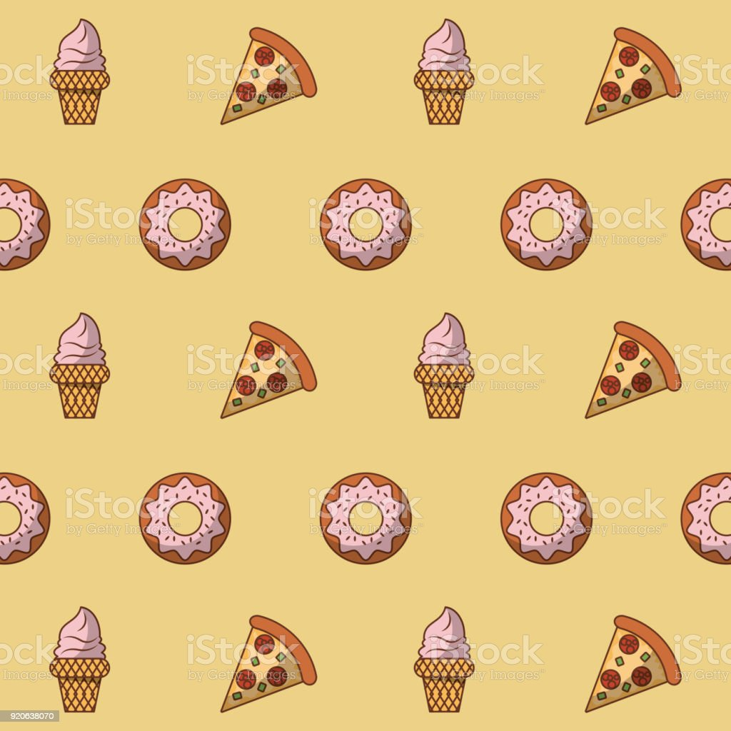Pizza and desserts background vector art illustration
