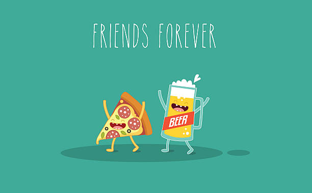 stockillustraties, clipart, cartoons en iconen met pizza and glass of beer - bargerecht