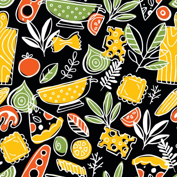 Pizza and pasta seamless pattern. Fun sketchy food background. vector art illustration
