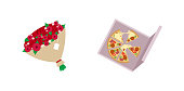 Pizza and roses flat color vector objects set
