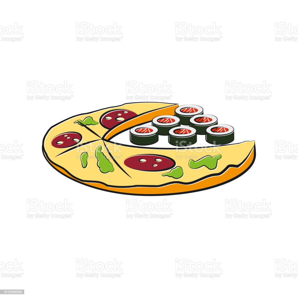Pizza And Sushi Cartoon Illustration Fast Food Template For The ...
