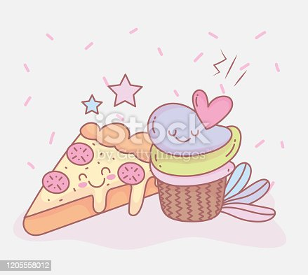 istock pizza and sweet cupcake dessert menu restaurant food cute 1205558012