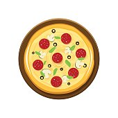 Pizza on wooden plate vector illustration isolated on white background, flat style pizza on wood tray board