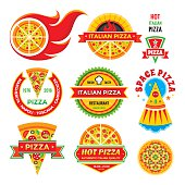 Pizza - vector badges set. Pizza - vector labels collection. Pizza - fast food vector illustrations. Design element.