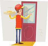 Pizza Box Delivery Boy Man Concept Knocking at Customer Door Wall Background Retro Cartoon Design Vector Illustration