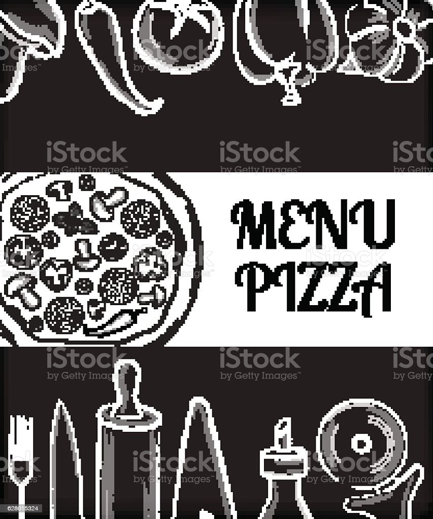 pizza cafe menu front page template with white hand drawn えびの