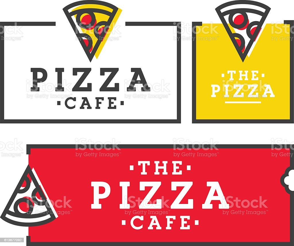 Pizza cafe. Set pizza logo, emblem, label vector art illustration