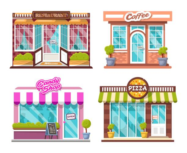 ilustrações de stock, clip art, desenhos animados e ícones de pizza, candy shop, coffee house, restaurant, bushes, logos, windows with shadows of people - coffe shop