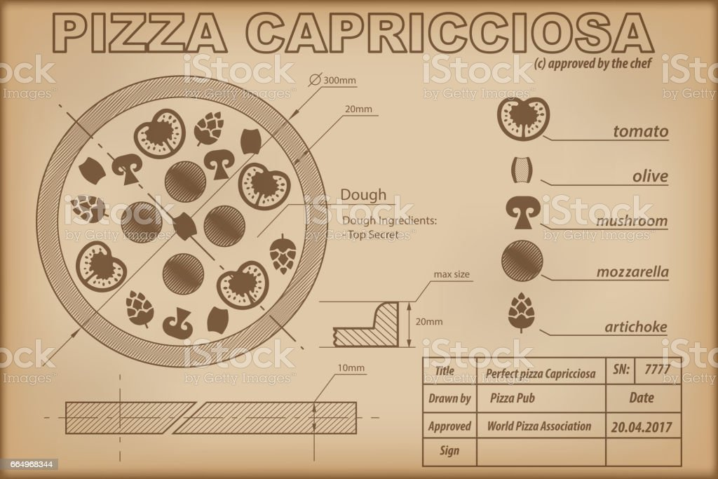 Pizza Capricciosa ingredients draw scheme vector art illustration