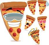 Cartoon pizza set including:
