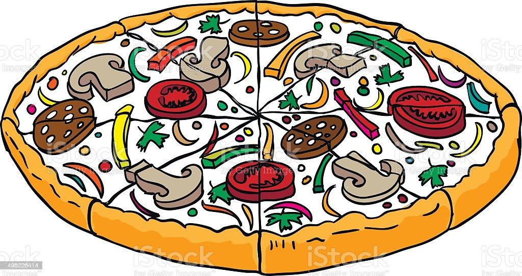 Pizza De Estilo De Dibujos Animados Vector Ilustración