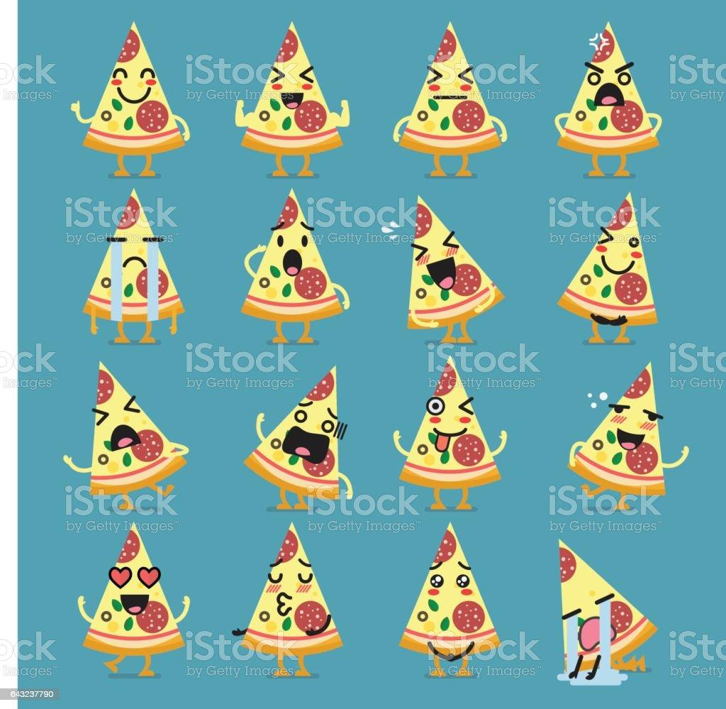 Pizza character emoji set vector art illustration