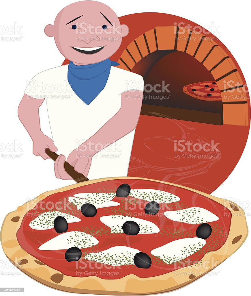 Pizza Chef at Work royalty-free stock vector art