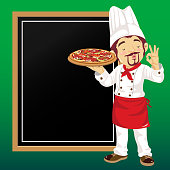 Pizza chef with chalkboard. EPS10.