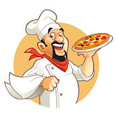 Smiling pizza chef cartoon character