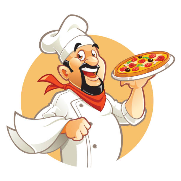 illustrazioni stock, clip art, cartoni animati e icone di tendenza di pizza chef - pizza