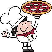 vector drawing of a smiling Chef holding a big Pizza in his hand