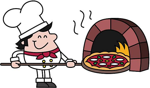 pizza-küchenchef mit ofen - kuqa stock-grafiken, -clipart, -cartoons und -symbole