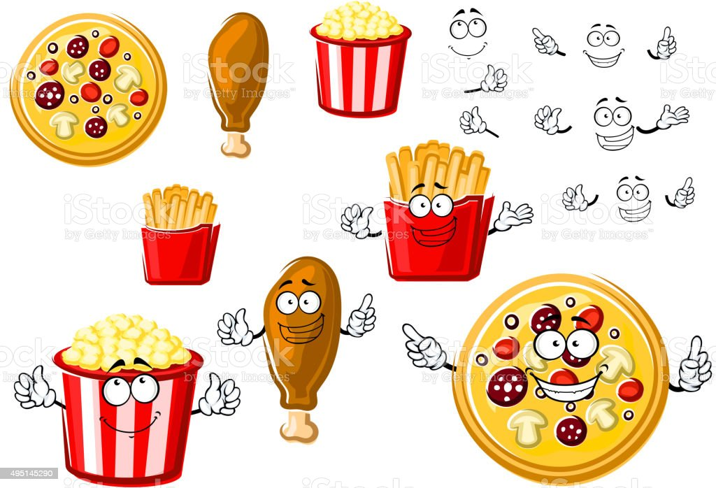 Pizza, chicken leg, french fries and popcorn vector art illustration