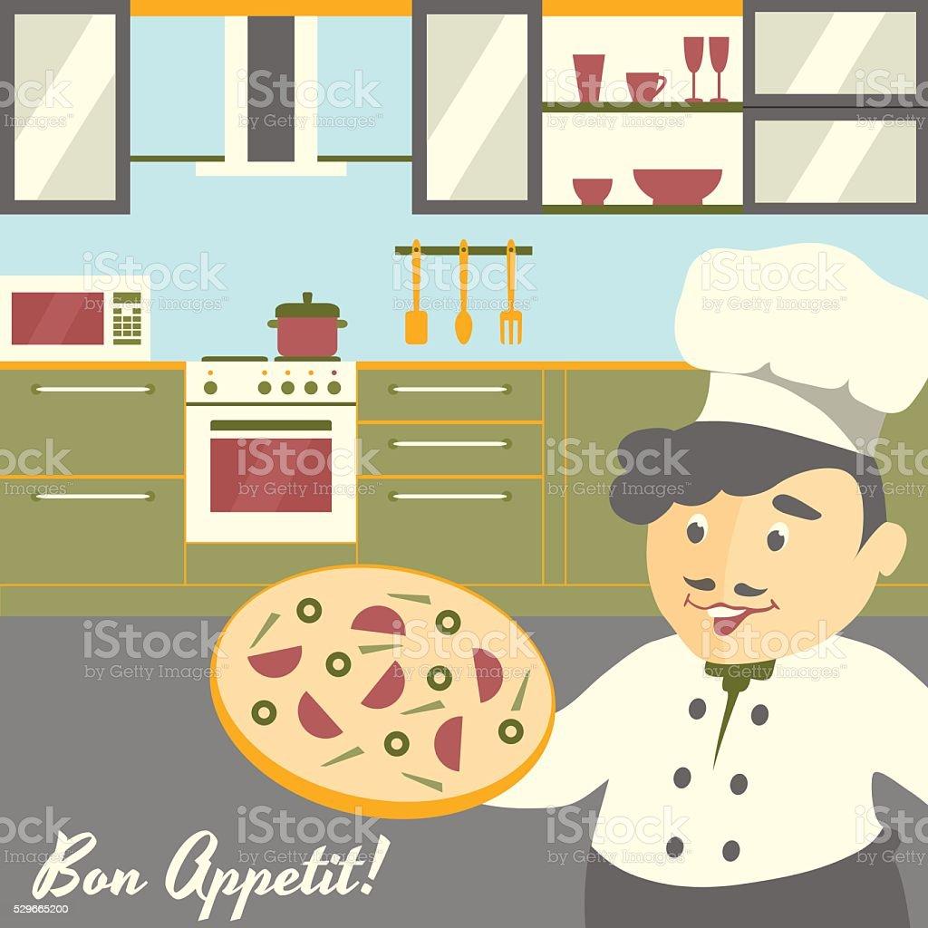 Pizza Chef Koch Abbildung Mit Küche Interieur Im Hintergrund Flache ...