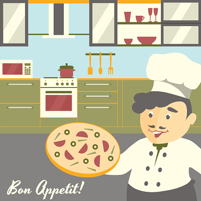 Pizza chief cook illustration with kitchen interior background. Flat vector