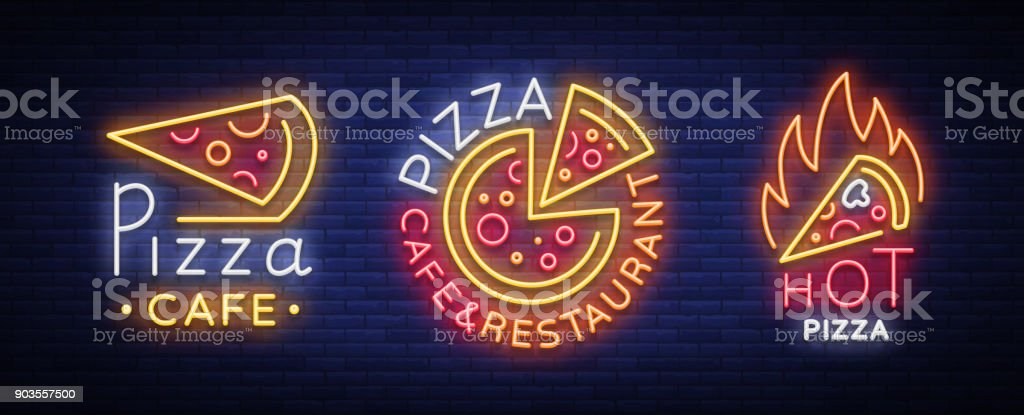Pizza Collection Of Neon Signs Vector Set Neon Logos Pizzeria Emblems Neon  Advertising On The Topic Of Pizza Cafe Restaurant Dining Room Snack Bar