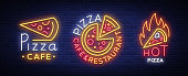 Pizza collection of neon signs vector. Set neon logos Pizzeria, emblems. Neon advertising on the topic of pizza cafe, restaurant, dining room, snack bar. Bright night billboard. Vector illustration.