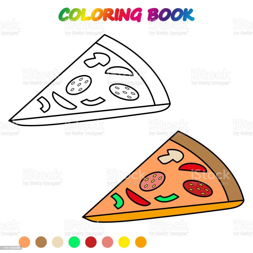 Ilustración De Pizza Libro Para Colorear Página Para