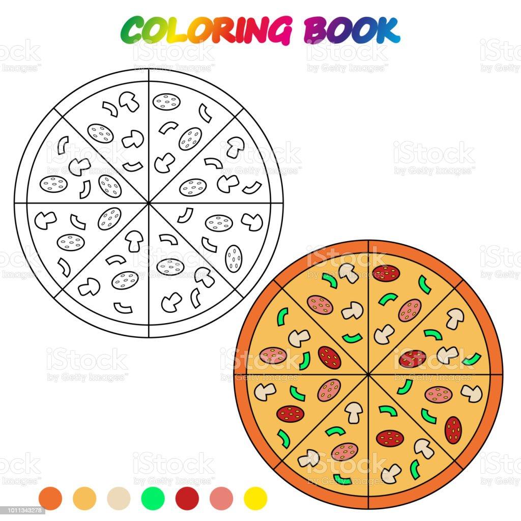 Pizza Boyama Kitabi Okul Oncesi Cocuklar Yetistirmek Icin Boyama