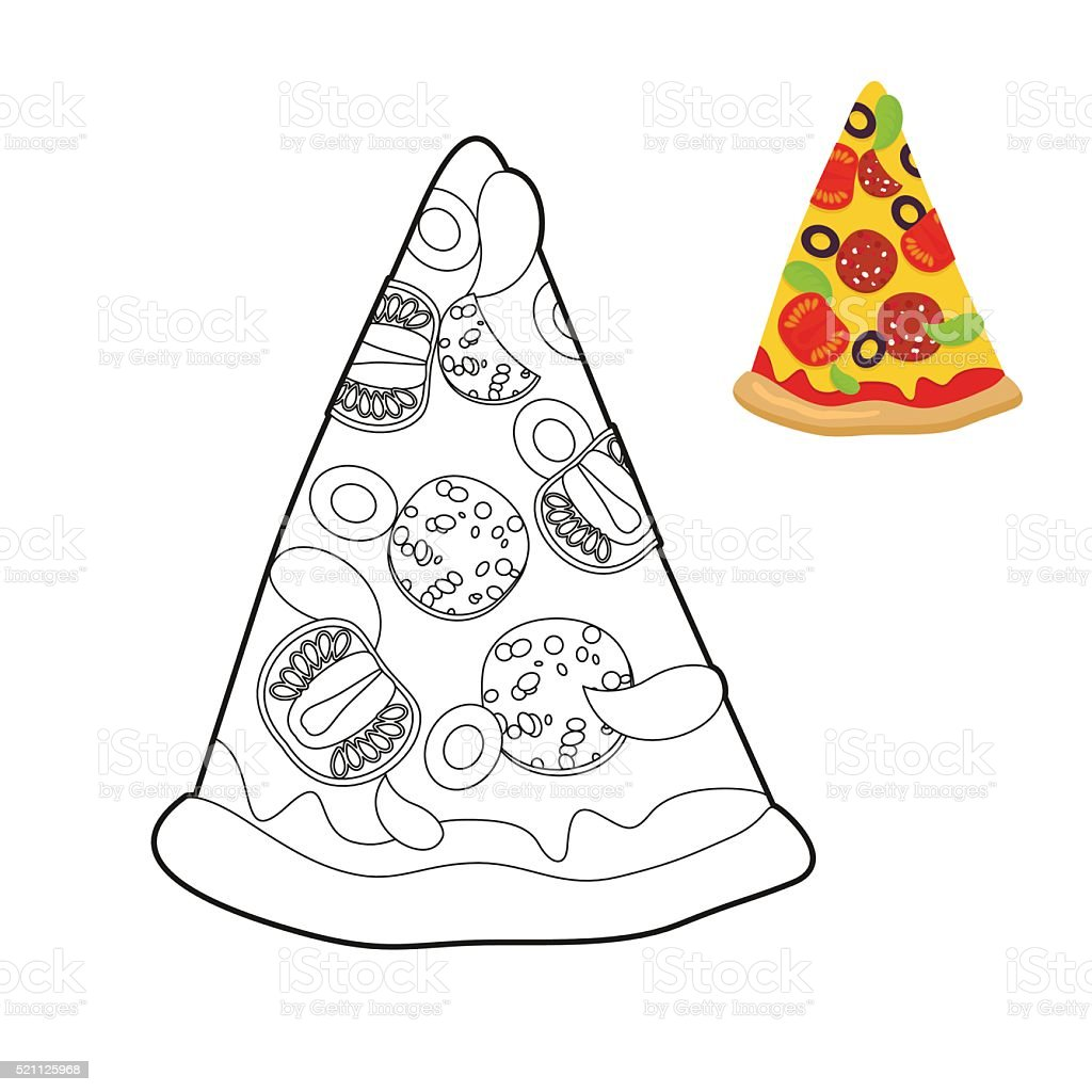 ilustração de pizza livro de colorir delicioso fatia de pizza estilo
