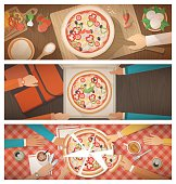 Pizza cooking, delivery and eating at home