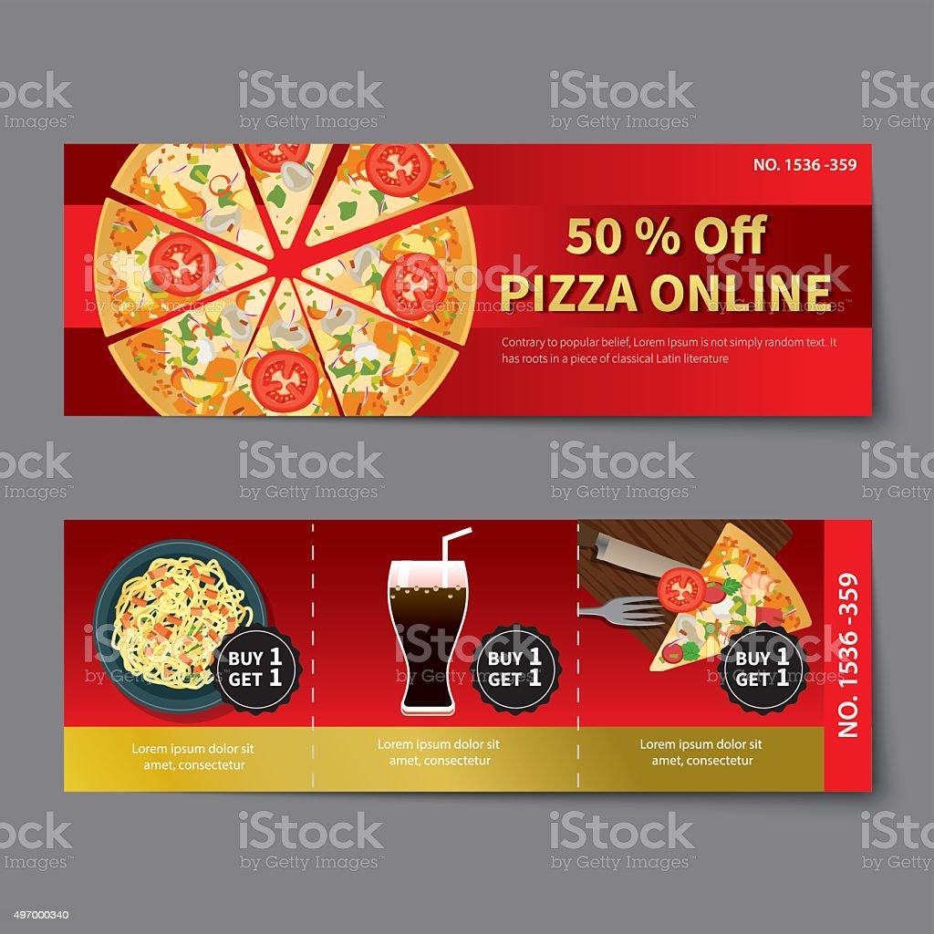 Pizza CupÓn De Descuento La Plantilla De Diseño Plano - Arte ...