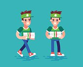 Pizza courier. Vector characters in flat design.