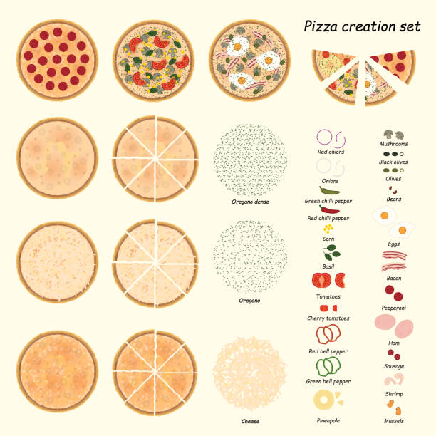 Pizza creation set. Pizza ingredient set. Vector. Pizza creation set. Pizza ingredient set. Vector. eps10. pastry dough stock illustrations